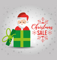 christmas poster with a cute santa claus gift for vector image