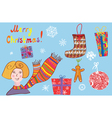 Christmas set of details with girl vector image