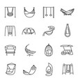 collection swing and hammock icon set vector image