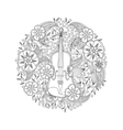 Coloring page with ornamental violin in circle vector image vector image