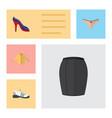 flat icon clothes set of heeled shoe stylish vector image vector image