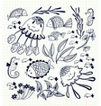 floral set with doodle marine life inhabitants vector image vector image