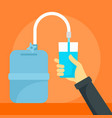 hand glass water tank concept background flat vector image