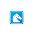 horse head in square shape for chess symbol vector image vector image