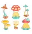 Isolated mushroom patchwork set vector image