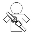 man with forklift seat belt stick figure car vector image