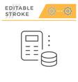 money calculation editable stroke line icon vector image vector image