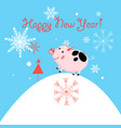 New year greeting card with piglet