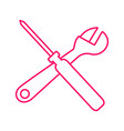 outline wrench and screwdriver cross graphic vector image vector image