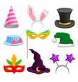party and masquerade head decor set hat mask vector image vector image