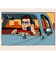 Retro driver talking on cell phone vector image