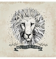 retro lion head design vector image vector image