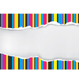 Ripped paper with print color stripes vector image vector image