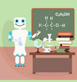 robot teacher in front of board vector image