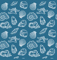 sea shells hand drawn sketch style pattern vector image vector image