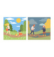 season scene with people character walking vector image vector image