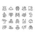 set 20 flat icons egypt culture design vector image