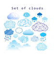 set different clouds vector image vector image