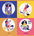 set female activities being surrounded cats vector image