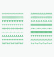 set of horizontal isolated green lace borders for vector image