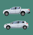 set of vehicles pickup truck and hatchback in side vector image