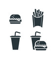 set tasty fast food fries drink and burger vector image