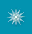 snowflake cut out icon isolated on blue wintertime vector image vector image