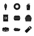 street food icon set simple style vector image vector image