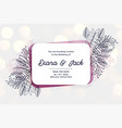 stylish wedding invitation card design with line vector image vector image
