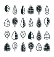 Stylized leaves and trees icon set vector image vector image
