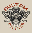 t-shirt design with a hot rod engine in vintage vector image vector image