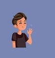 teen boy waving hello cartoon vector image