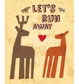 Wild animals love couple deer greeting card vector image
