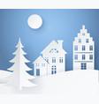 winter landscape paper card vector image
