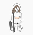 women dress up in fashion while shopping outdoors vector image
