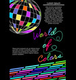 world colors flyer template with multicolored vector image vector image
