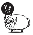 Y Yak cartoon and alphabet for children to vector image