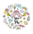 you and me lettering with girly doodles vector image vector image