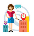 call center concept flat style colorful vector image