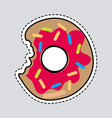 bitten donut logo patch cut out doughnut sticker vector image