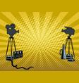 stage movie cameras pop art vector image