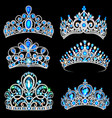 a fashion collection jewelry tiaras vector image vector image