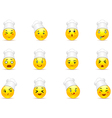 Anime smileys in white caps vector image vector image
