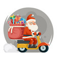 bag gift box santa claus delivery courier scooter vector image vector image