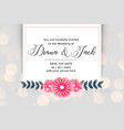 beautiful flower wedding invitation card design vector image vector image