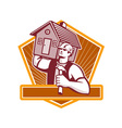 Builder Carpenter Carry House Retro vector image vector image