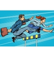 Business competition woman and man running vector image vector image