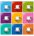 Buttons with cups and saucers vector image vector image