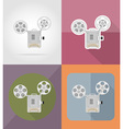 cinema flat icons 12 vector image