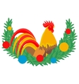 Cock and Christmas wreath vector image vector image